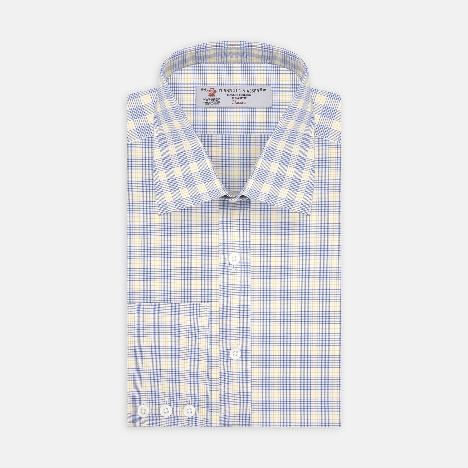 Blue and Yellow CrossCheck Shirt with T&A Collar and 3-Button Cuffs