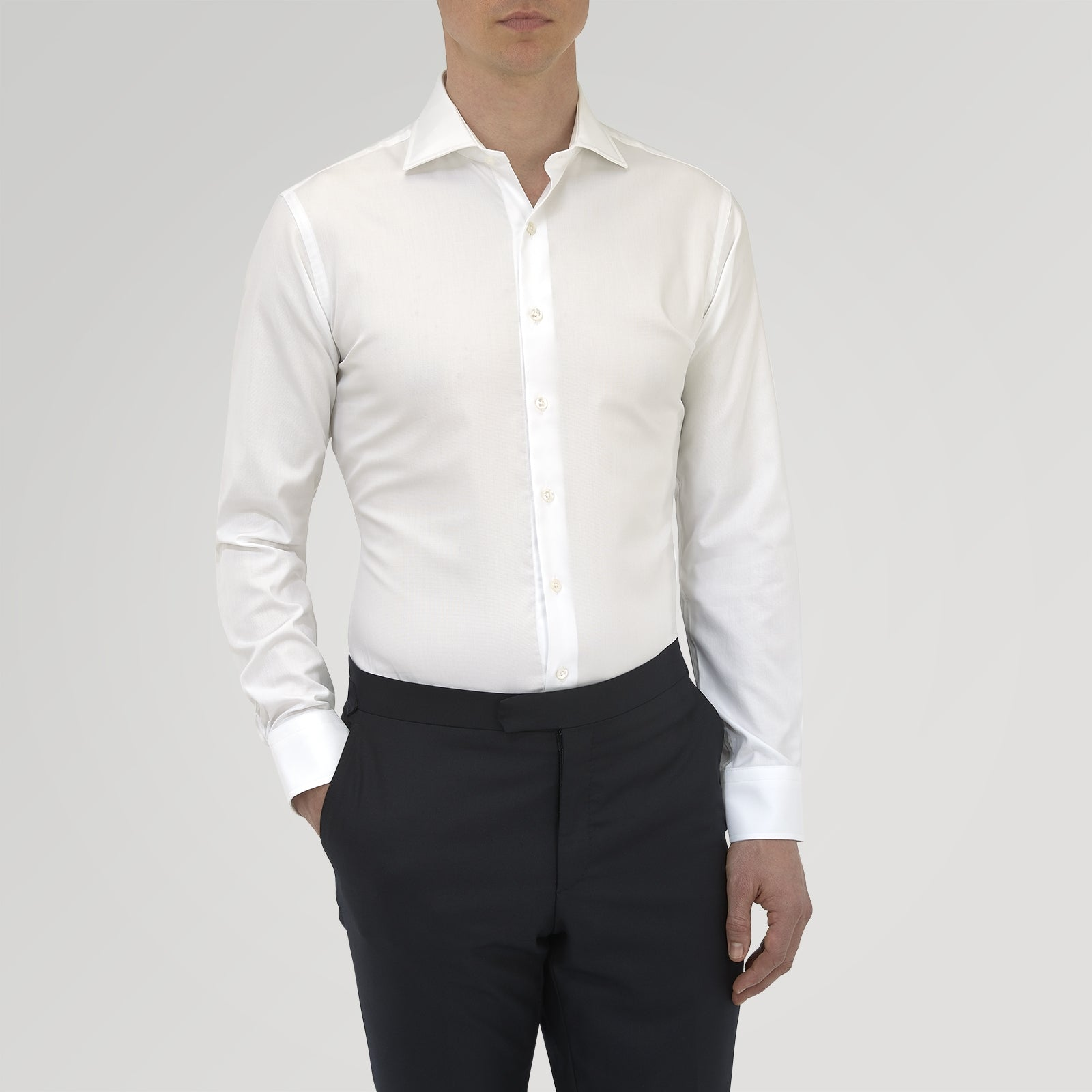 Tailored Fit White Royal Oxford Cotton Shirt with Kent Collar and 2-Button Cuffs