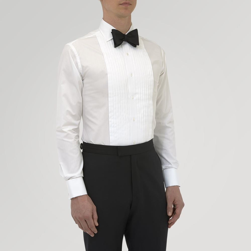 Tailored Fit White Pleated Front Shirt with Kent Collar and Double Cuffs