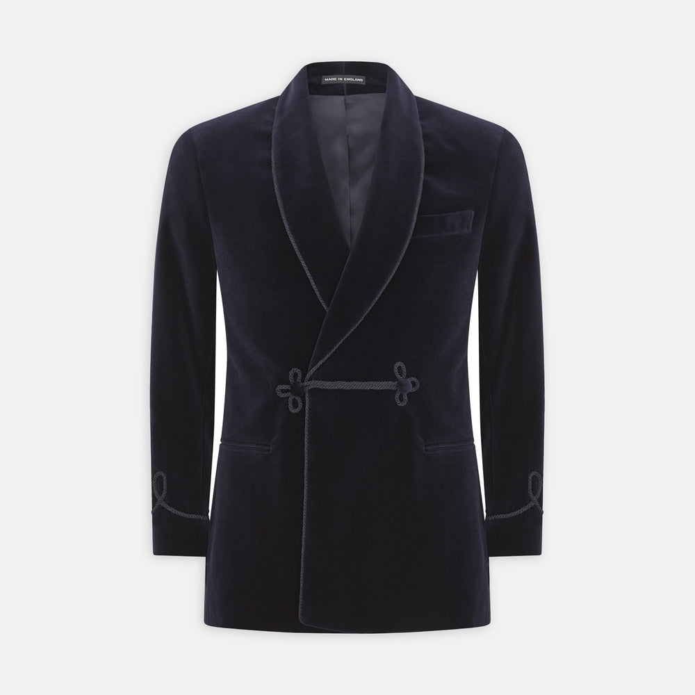 Navy Double Breasted Velvet Smoking Jacket