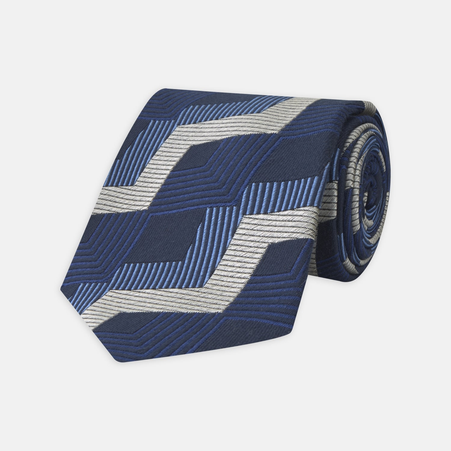 Blue and White Zig Zag Silk Tie
