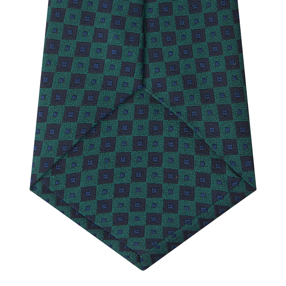 Green and Blue Tiles Silk Tie