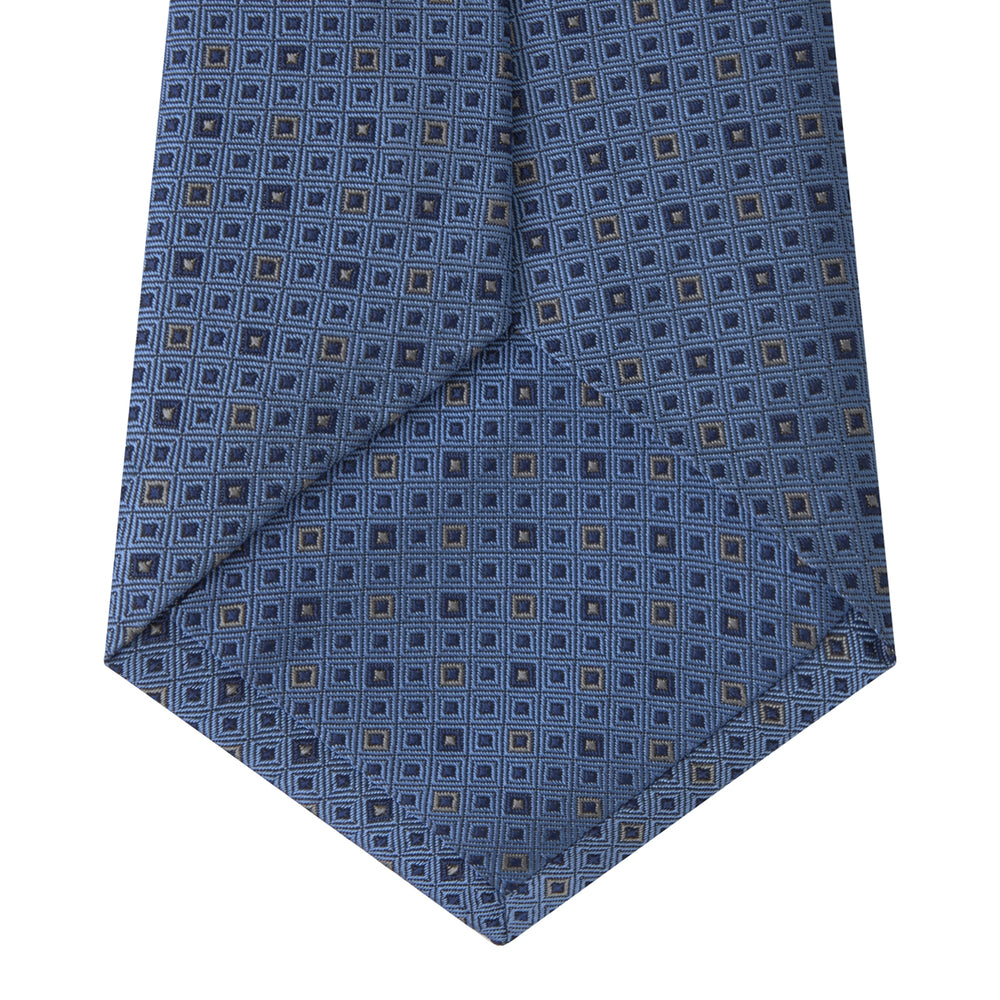 Blue and Navy Miniature Repeat Silk Tie