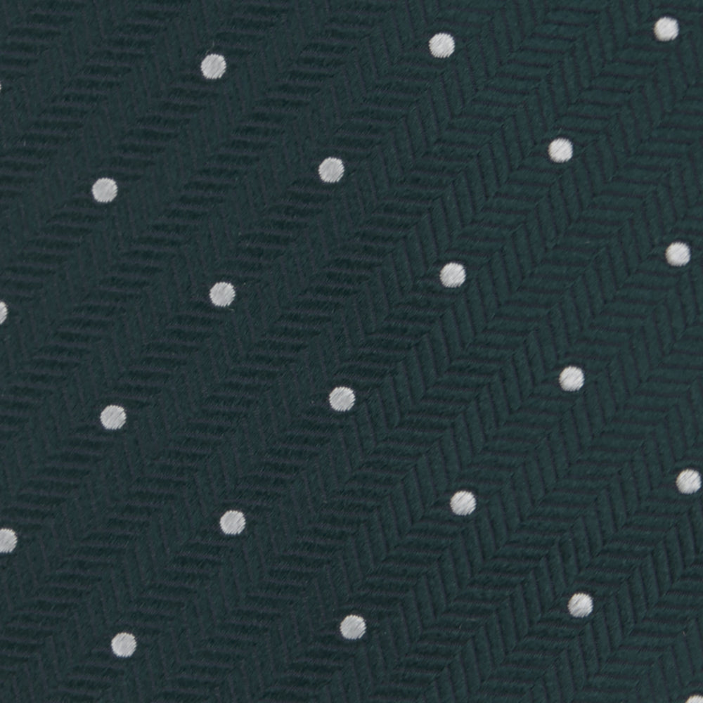 Forest Green and White Small Spot Herringbone Silk Tie