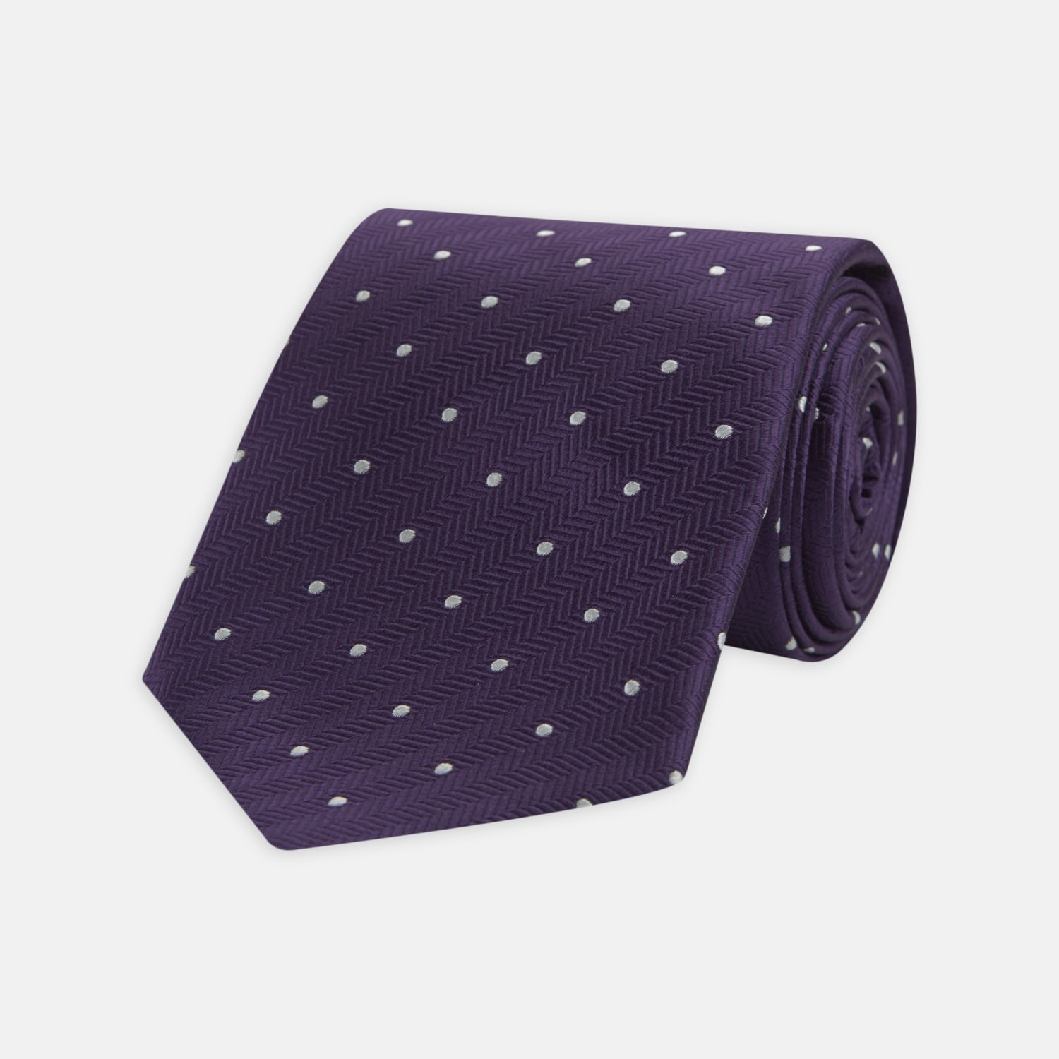 Plum and White Small Spot Herringbone Silk Tie