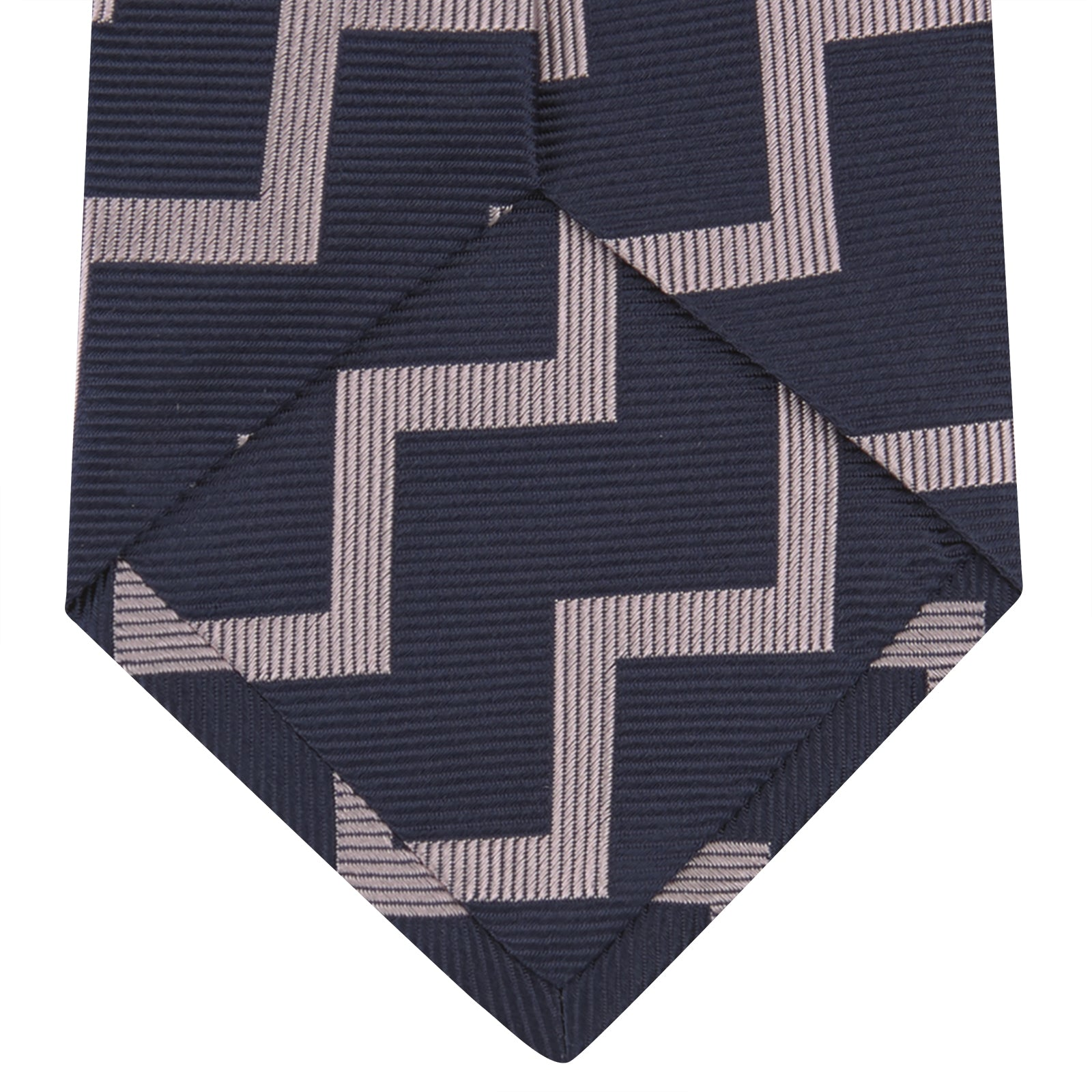 Navy and Rose Striped Zigzag Silk Tie