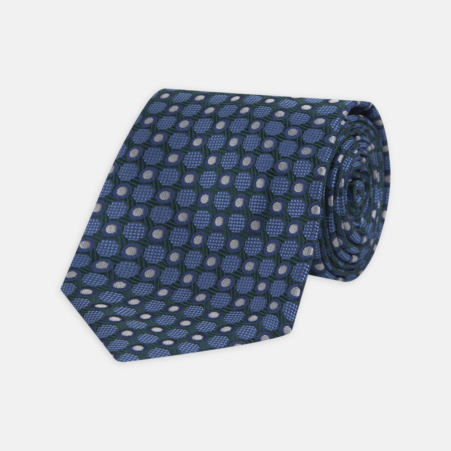 Forest Green and Blue Circle and Spot Silk Tie