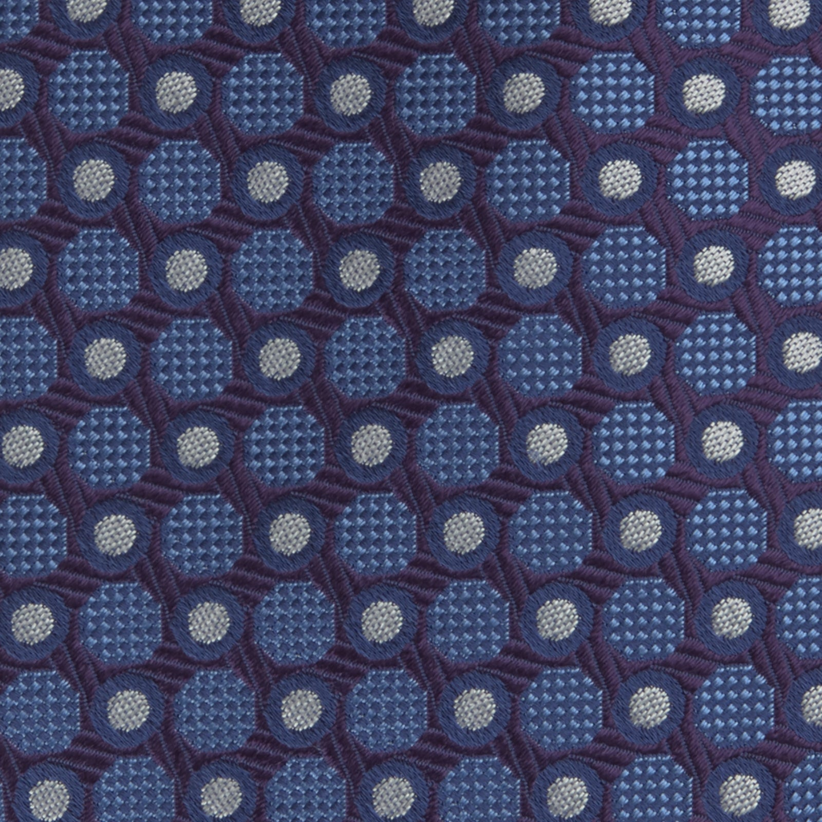 Plum and Blue Circle and Spot Silk Tie