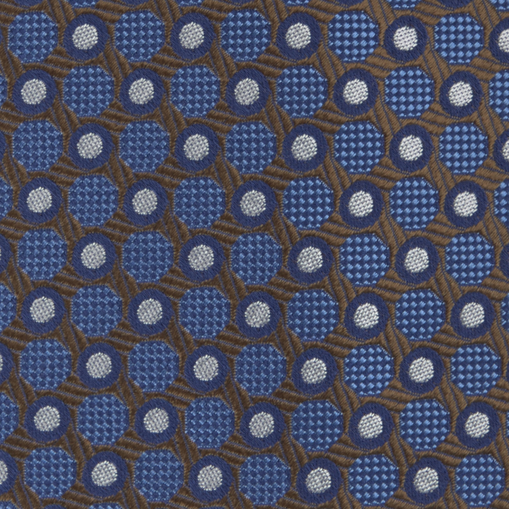 Brown and Blue Circle and Spot Silk Tie