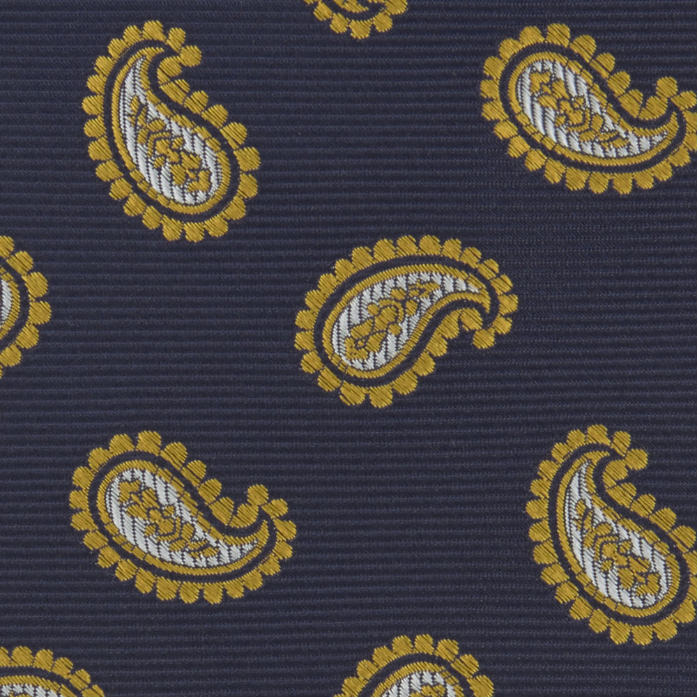 Navy and Gold Floating Paisley Silk Tie