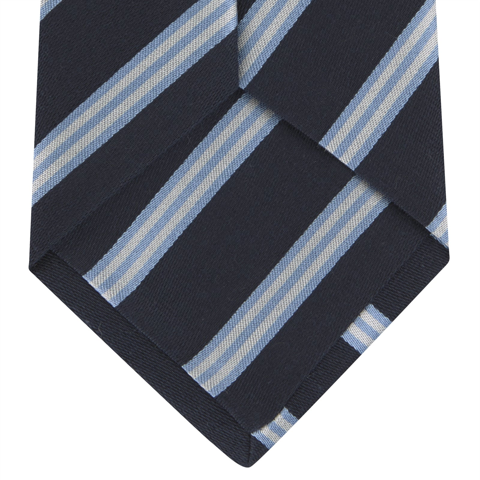 Navy, Sky Blue and White Multi Repp Stripe Silk Tie