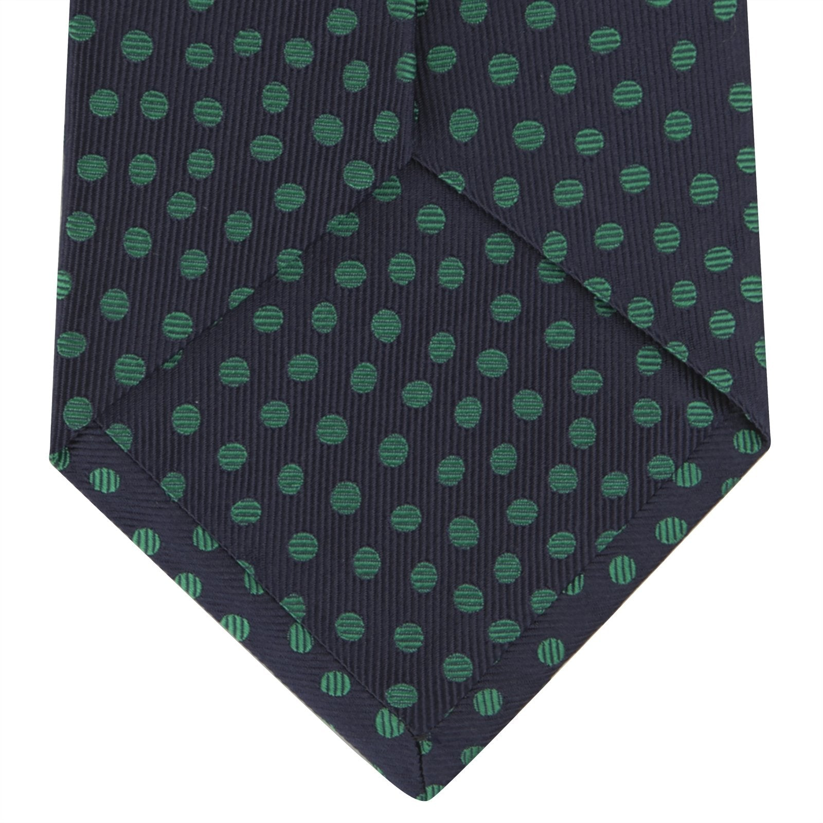 Navy and Green Paint Spot Silk Tie