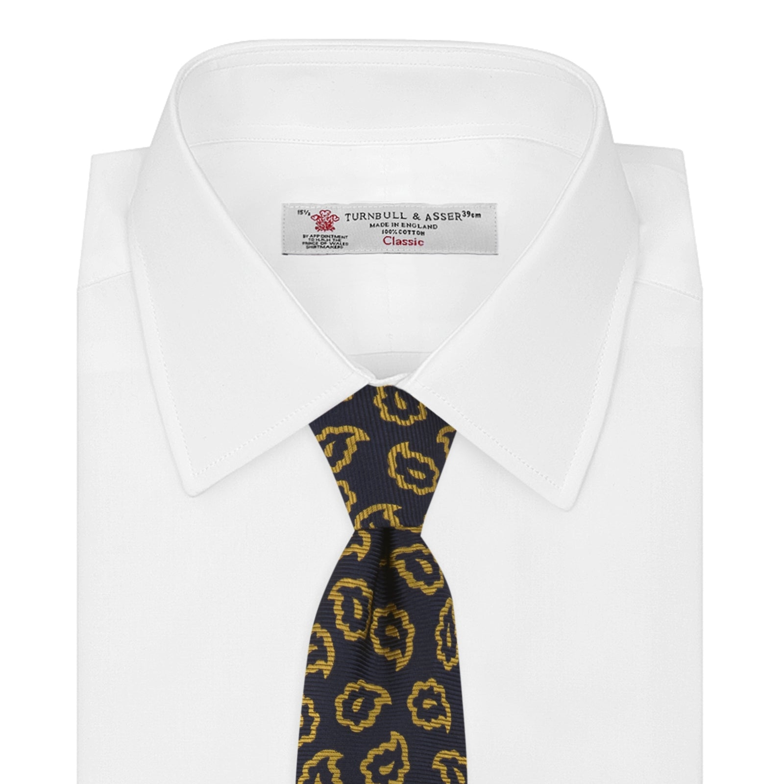 Navy and Gold Petal Paisley Silk Tie