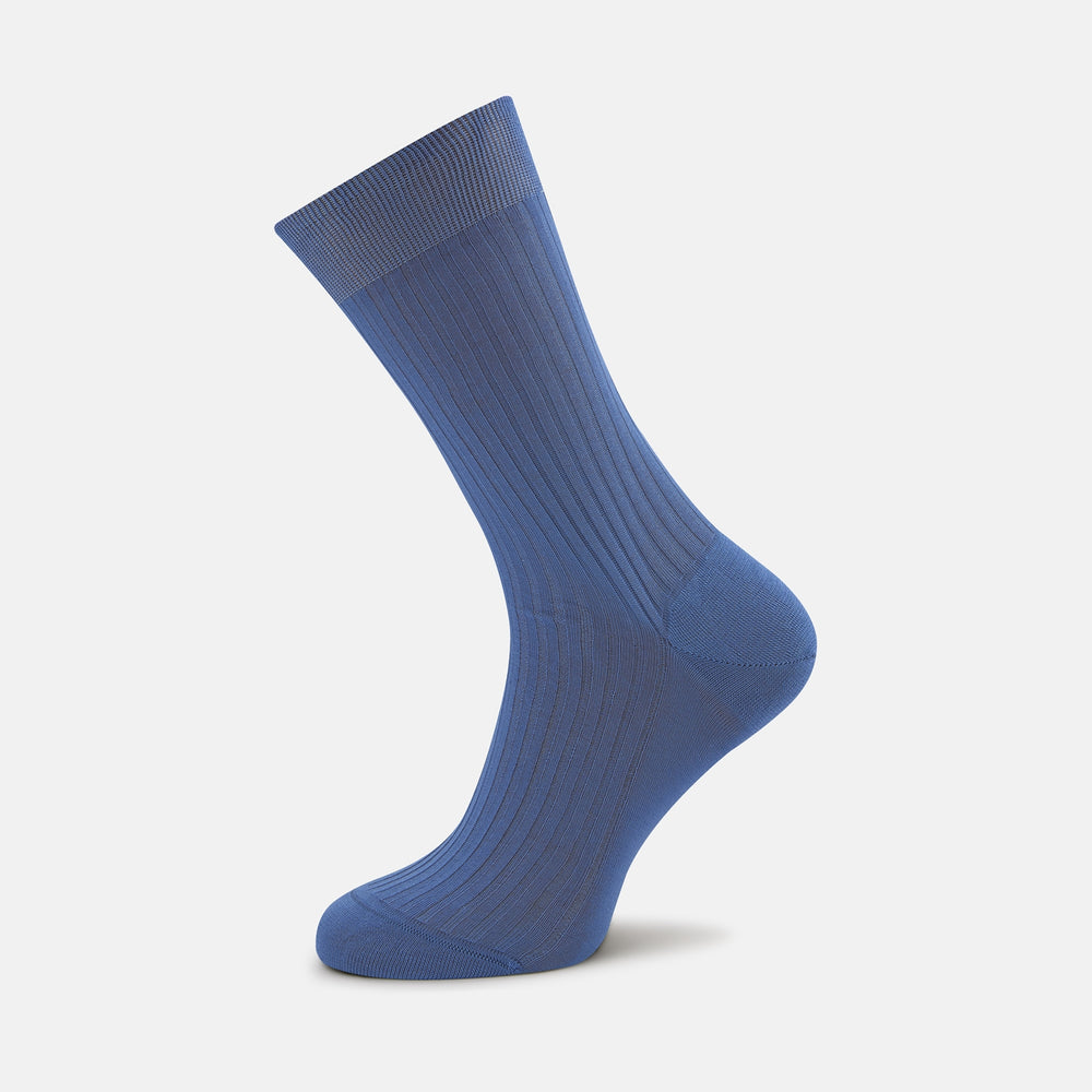 Denim Blue Short Pure Cotton Socks