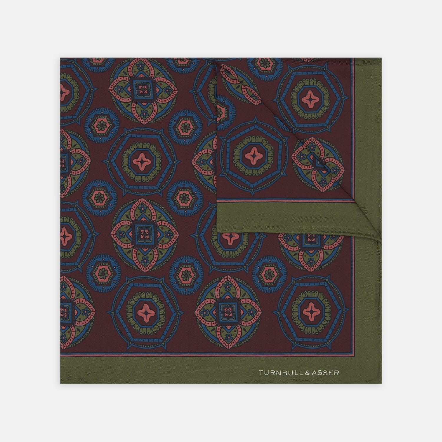 Burgundy, Green and Pink Ensemble Silk Pocket Square