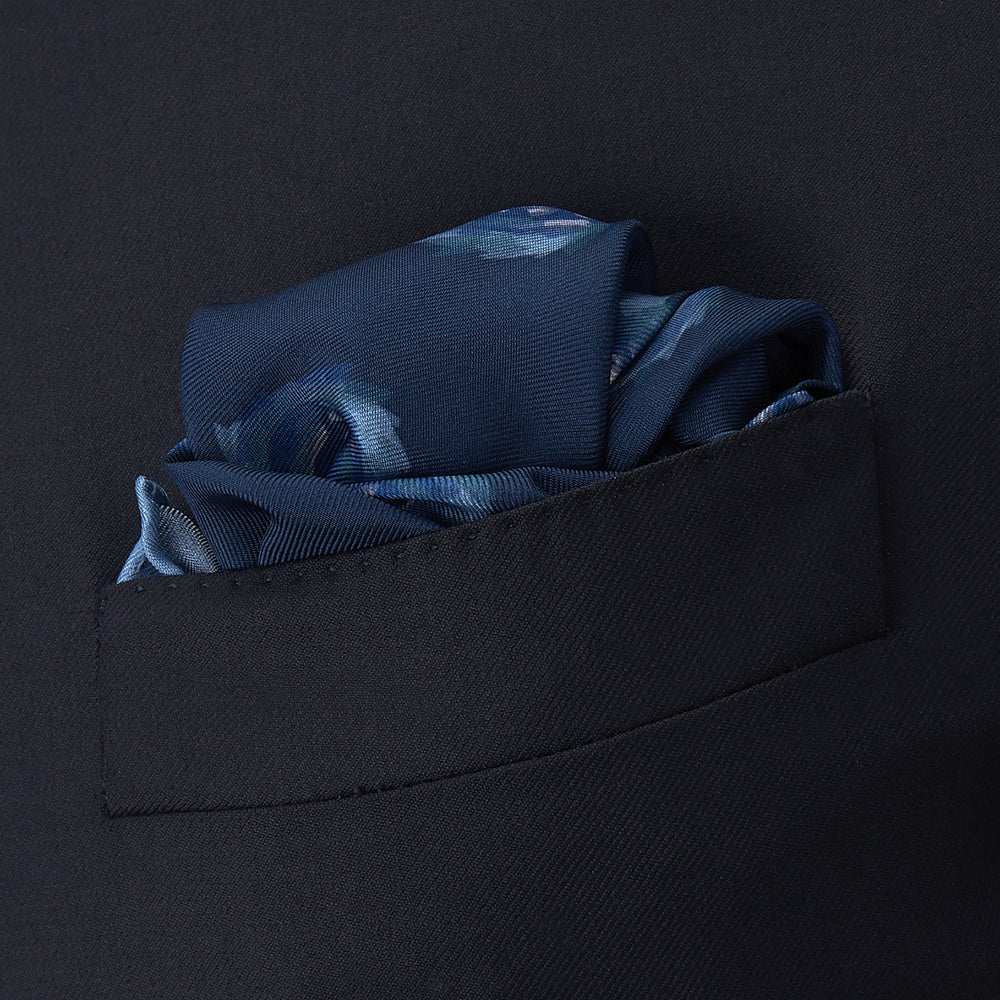 Navy Starry Spots Silk Pocket Square