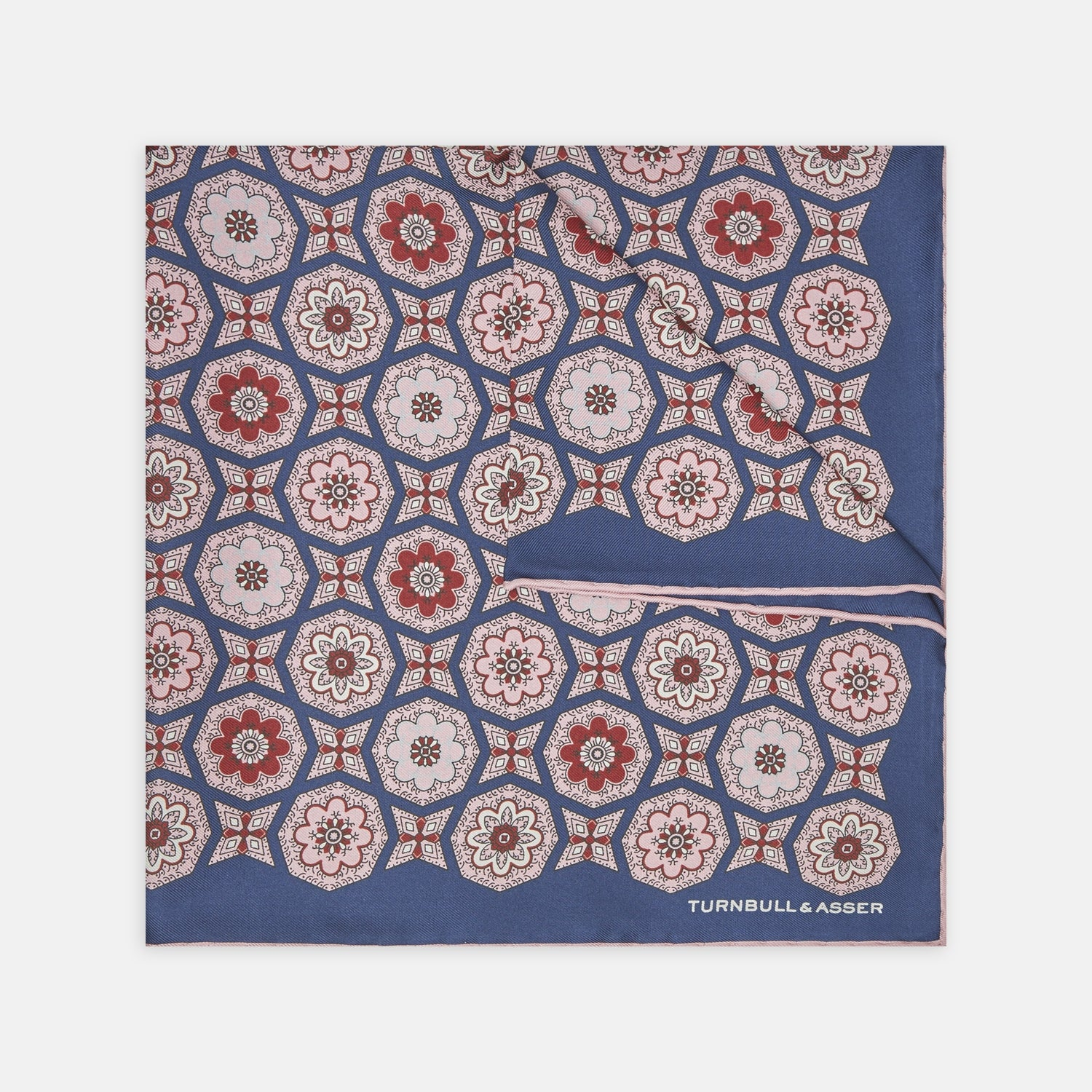 Pink and Navy Floral Medallion Silk Pocket Square