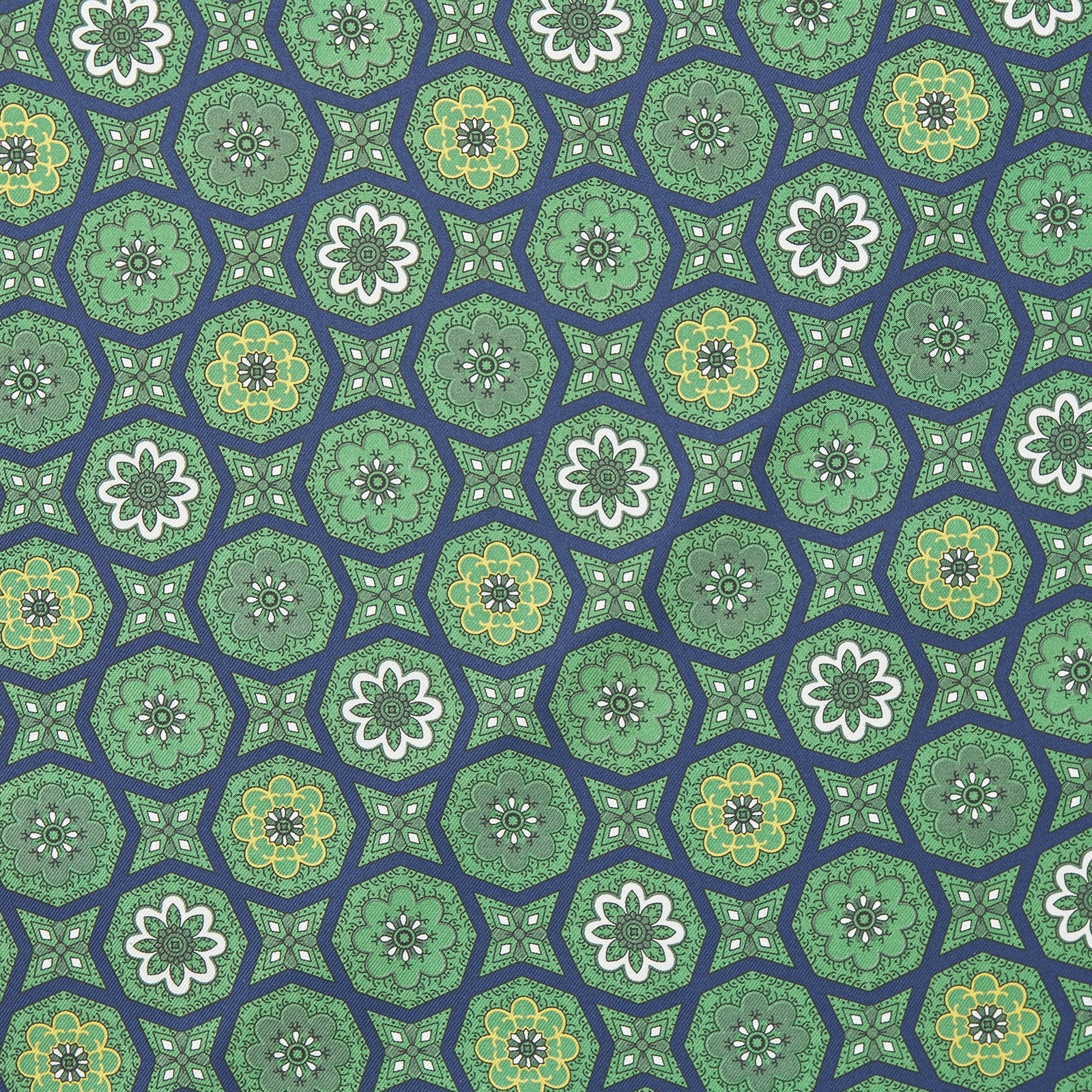 Green and Navy Floral Medallion Silk Pocket Square