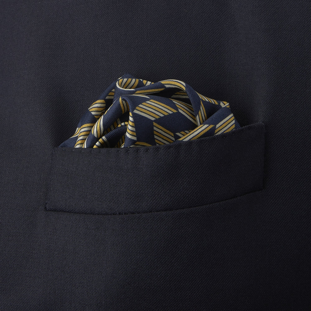 Blue and Gold Arrow Silk Pocket Square