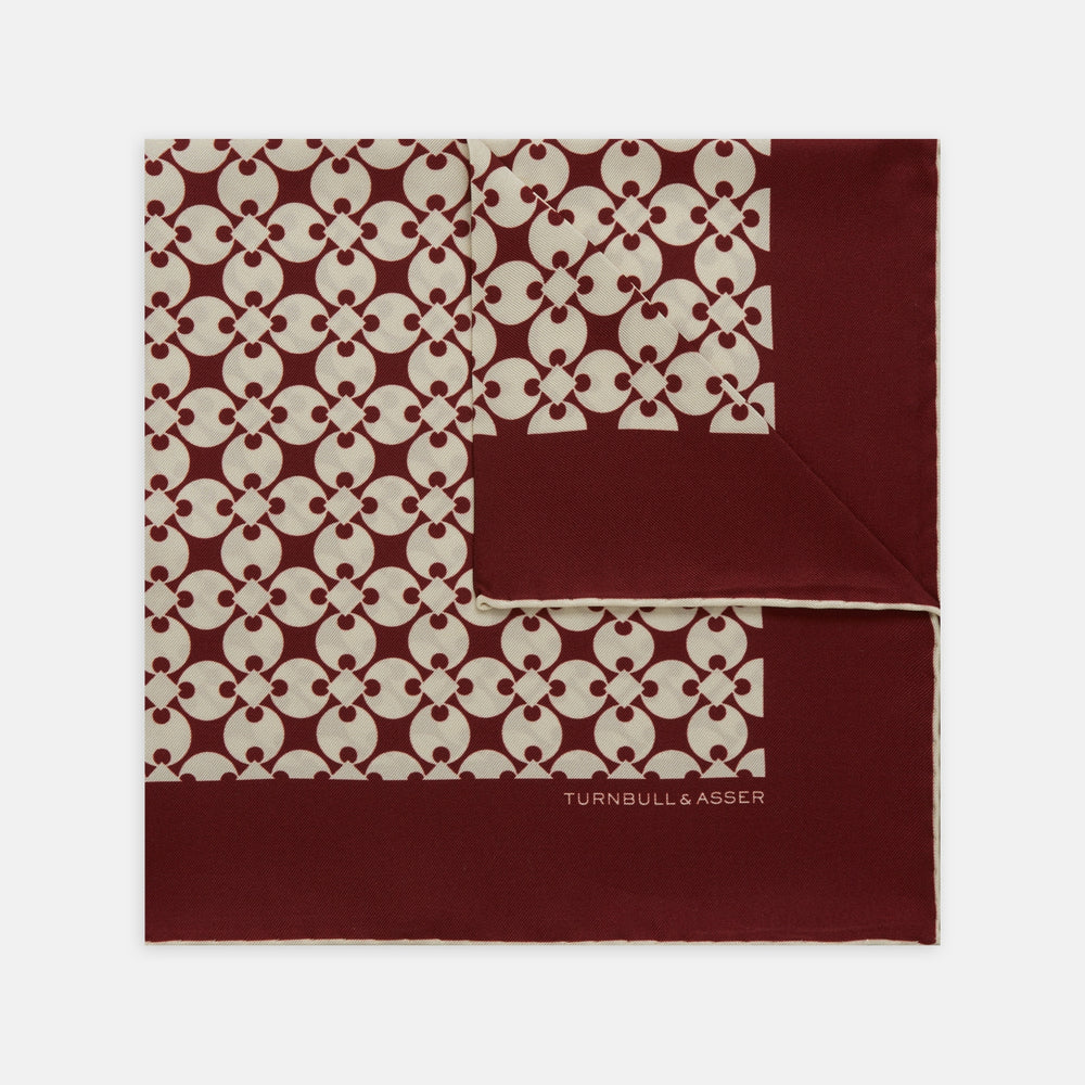 Red and White Vanguard Spot Silk Pocket Square