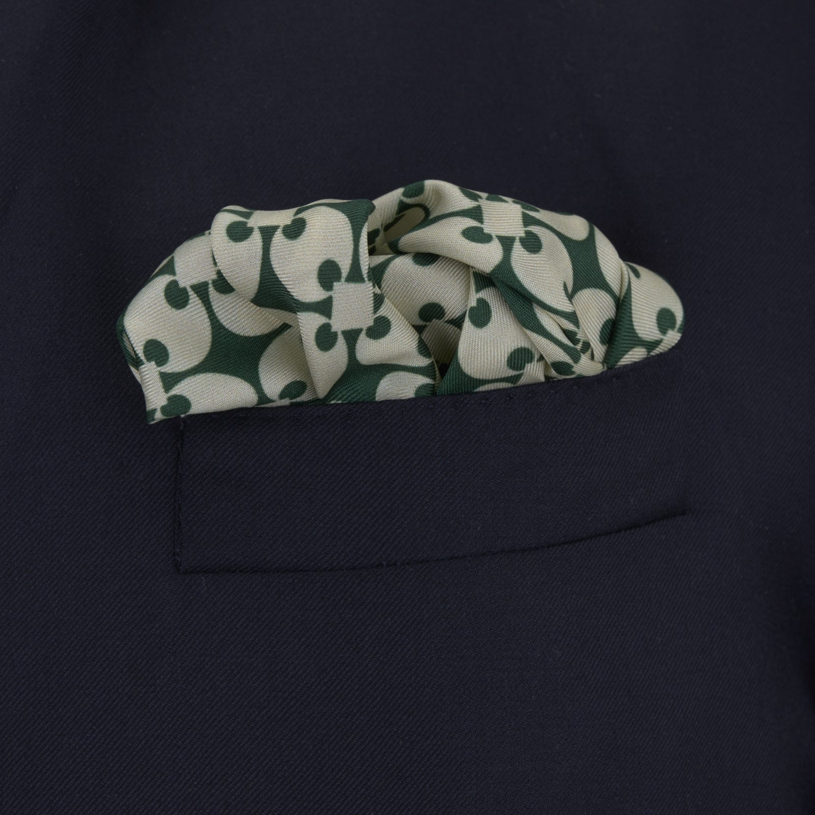 Green and White Vanguard Spot Silk Pocket Square