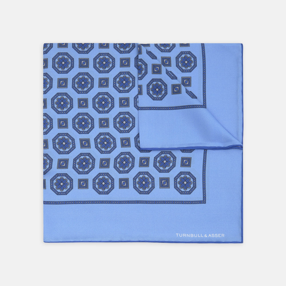 Blue Medallion Silk Pocket Square