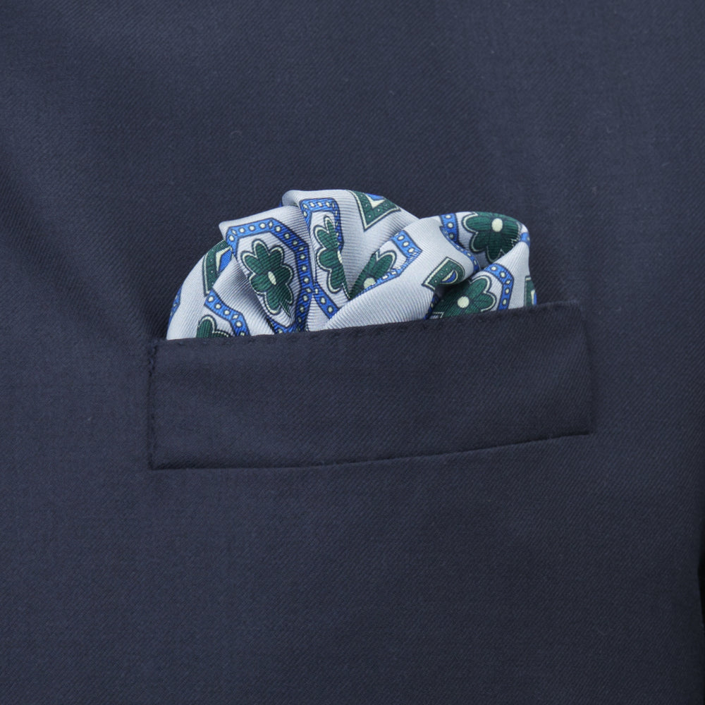 Pastel Blue and Green Medallion Silk Pocket Square