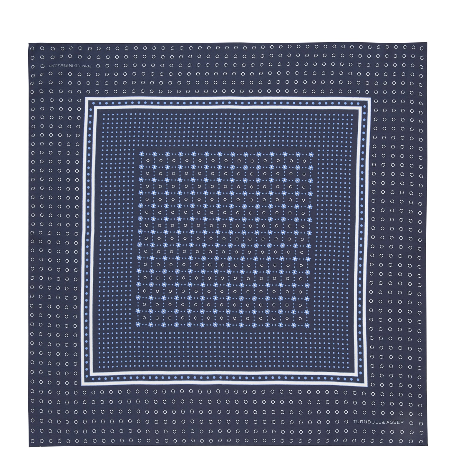 Navy Dotted Floral Silk Pocket Square