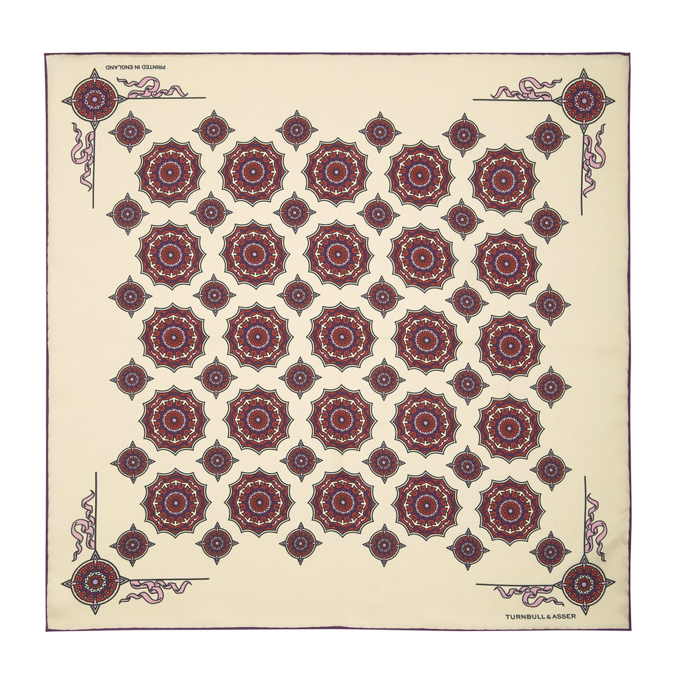 Cream, Crimson and Purple Compass Silk Pocket Square