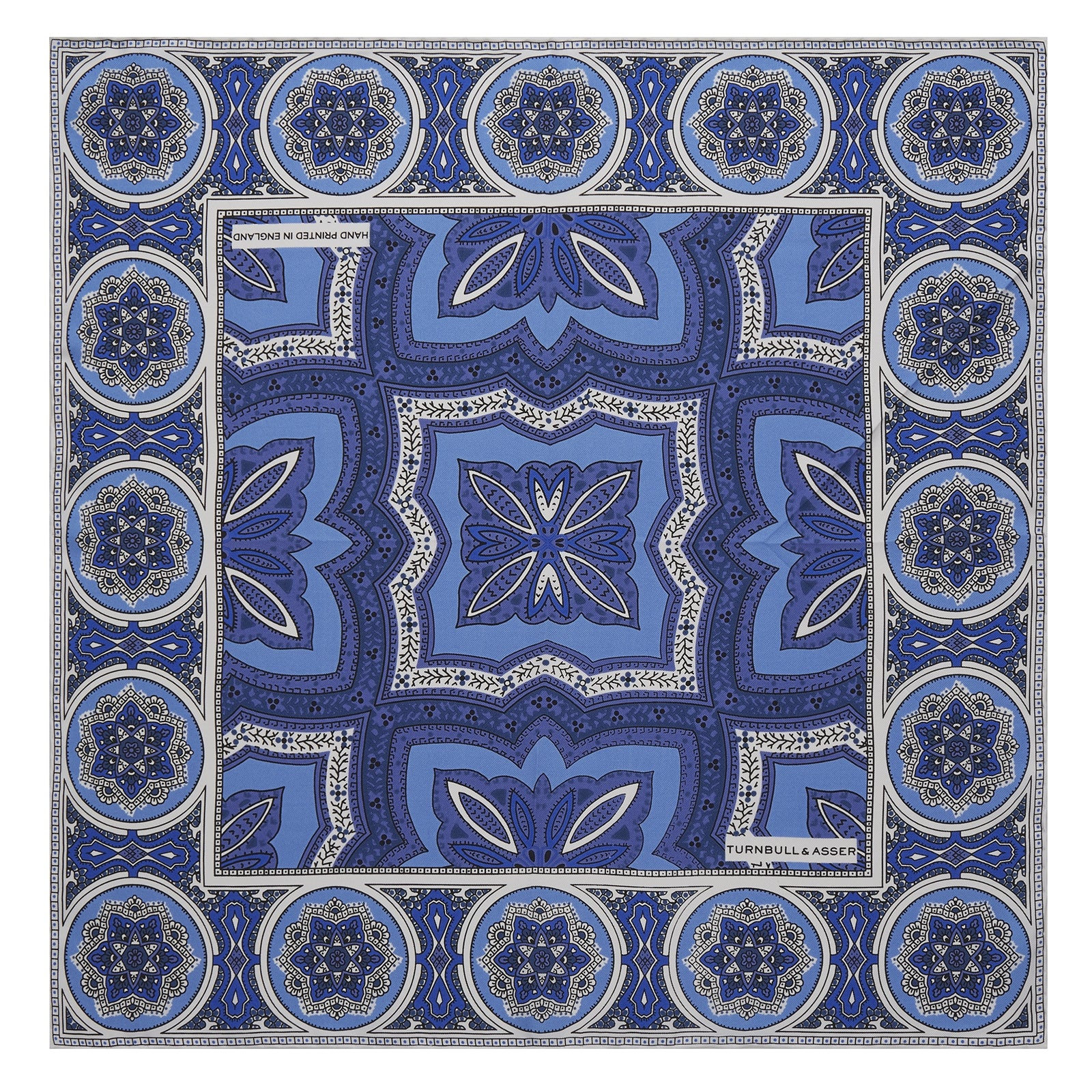 Blue Tiled Medallion Silk Pocket Square