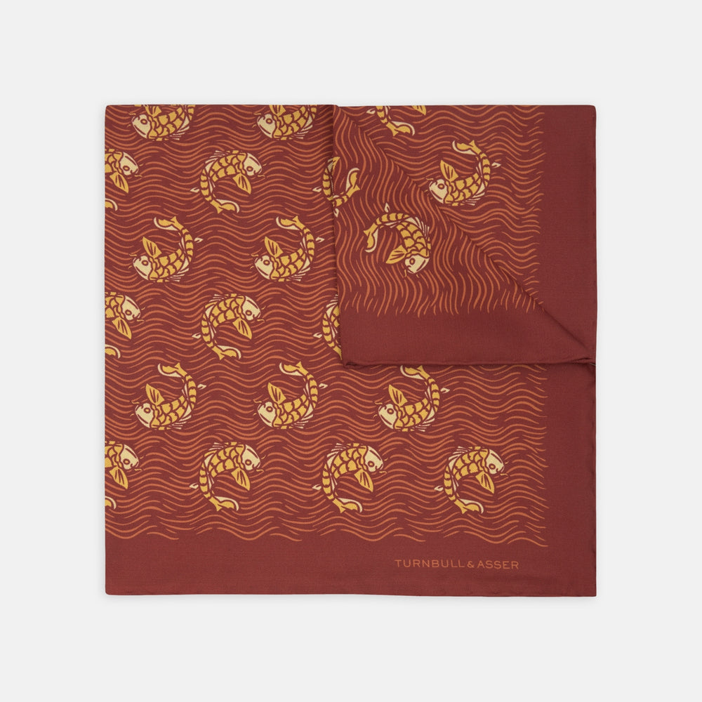 Red and Orange Carp Silk Pocket Square