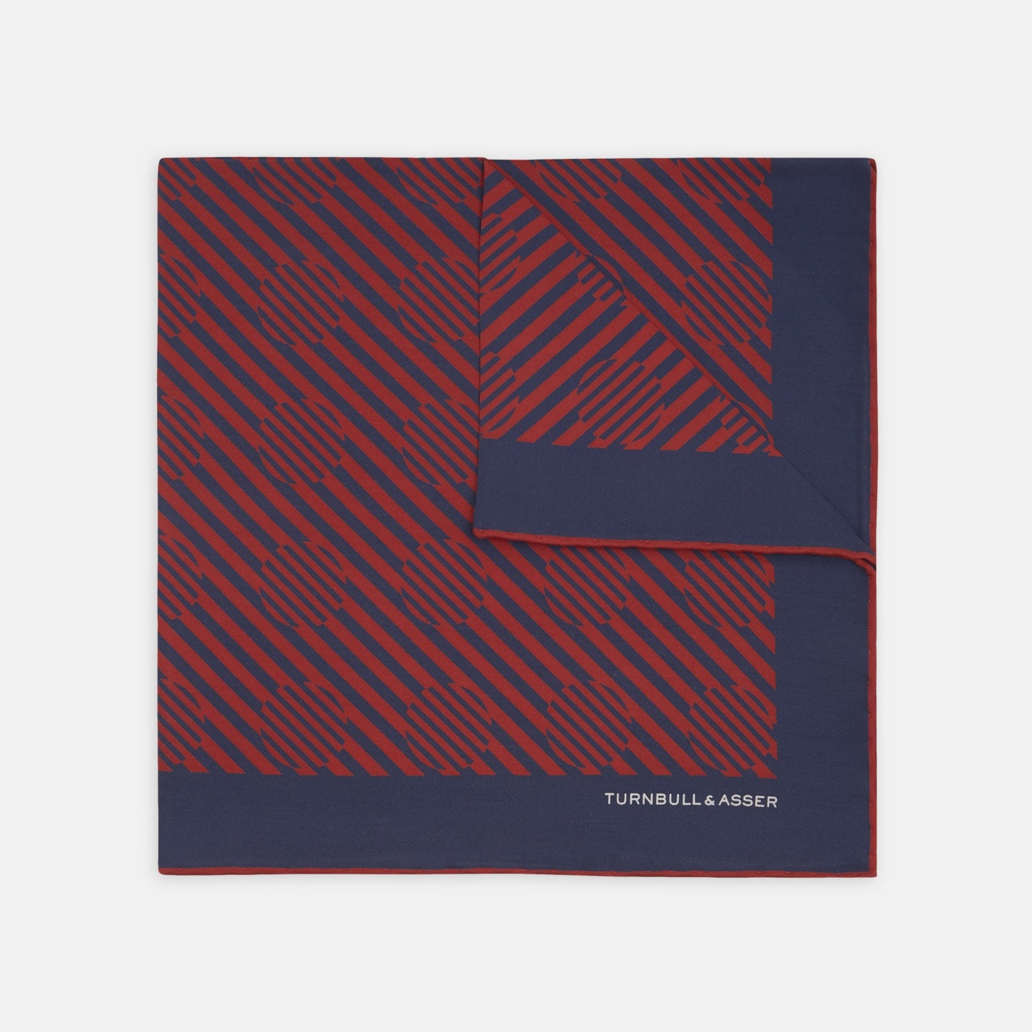 Red and Navy Optic Spot Silk Pocket Square