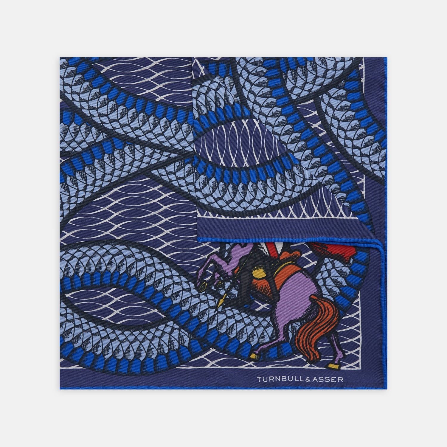 Navy and Blue St. George Silk Pocket Square