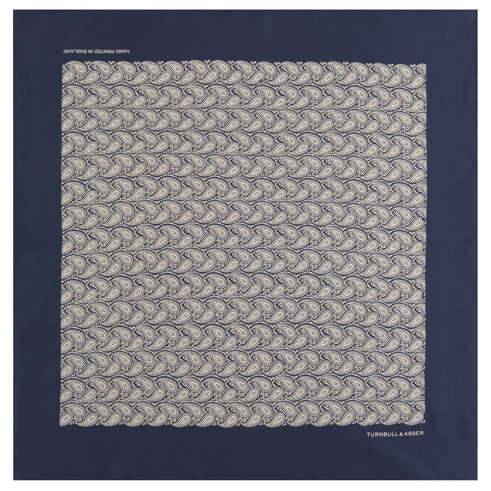 Navy Paisley Plait Silk Pocket Square