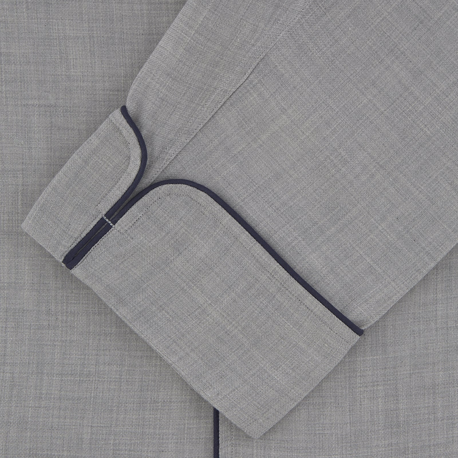 Grey Piped Cashmere Blend Pyjama Set