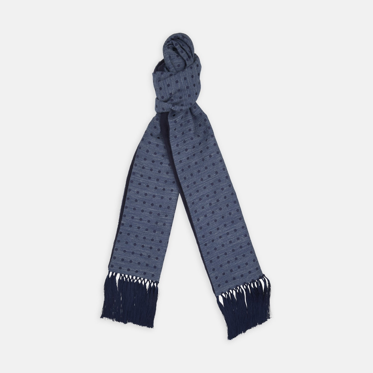 Navy Spot Silk Noile and Cashmere Reversible Scarf