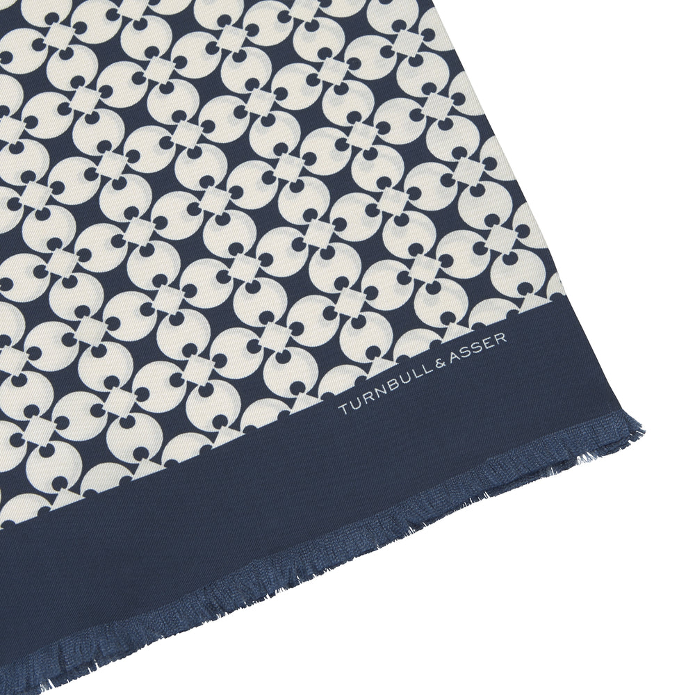 Blue and White Vanguard Spot Silk Scarf