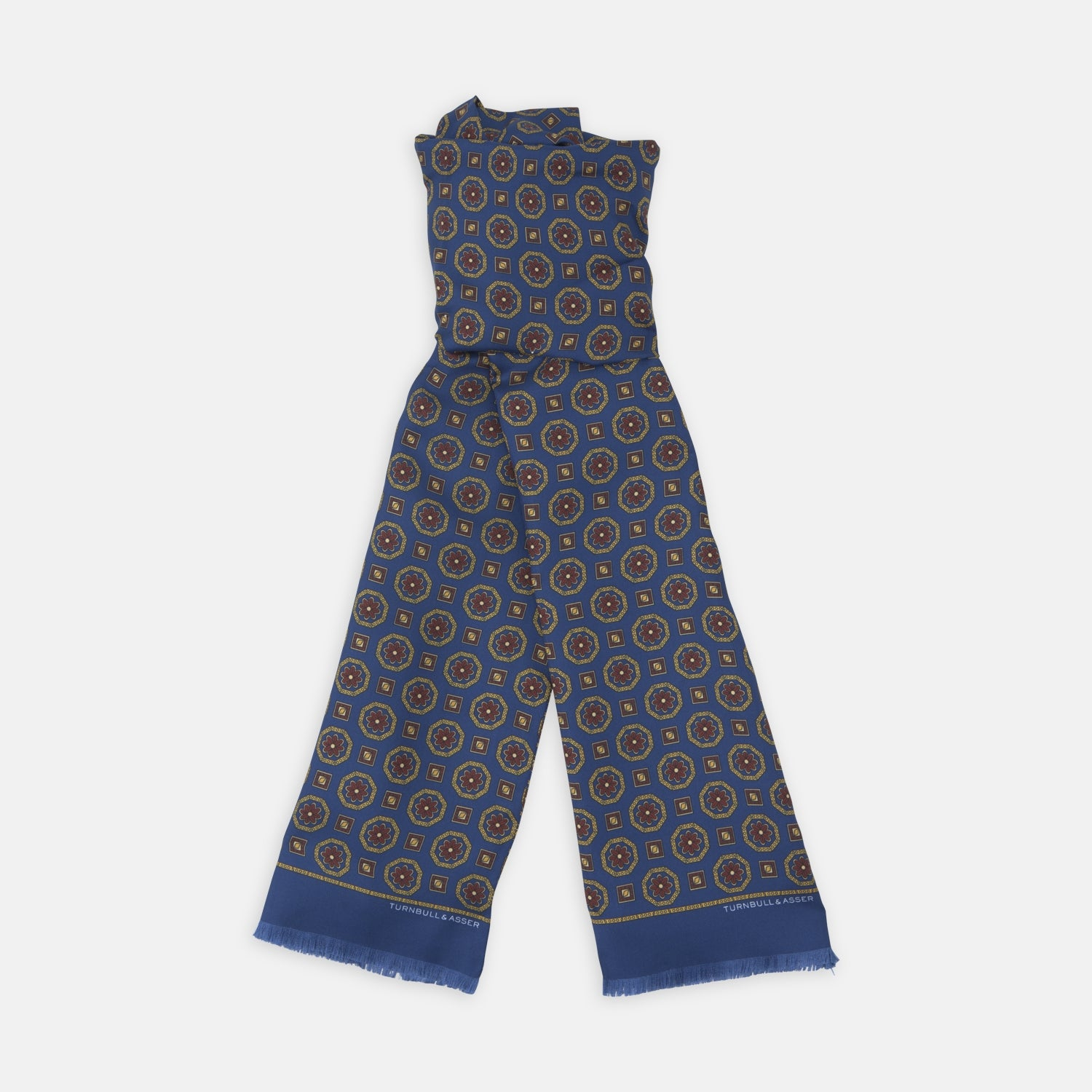Navy Medallion Print Silk Scarf