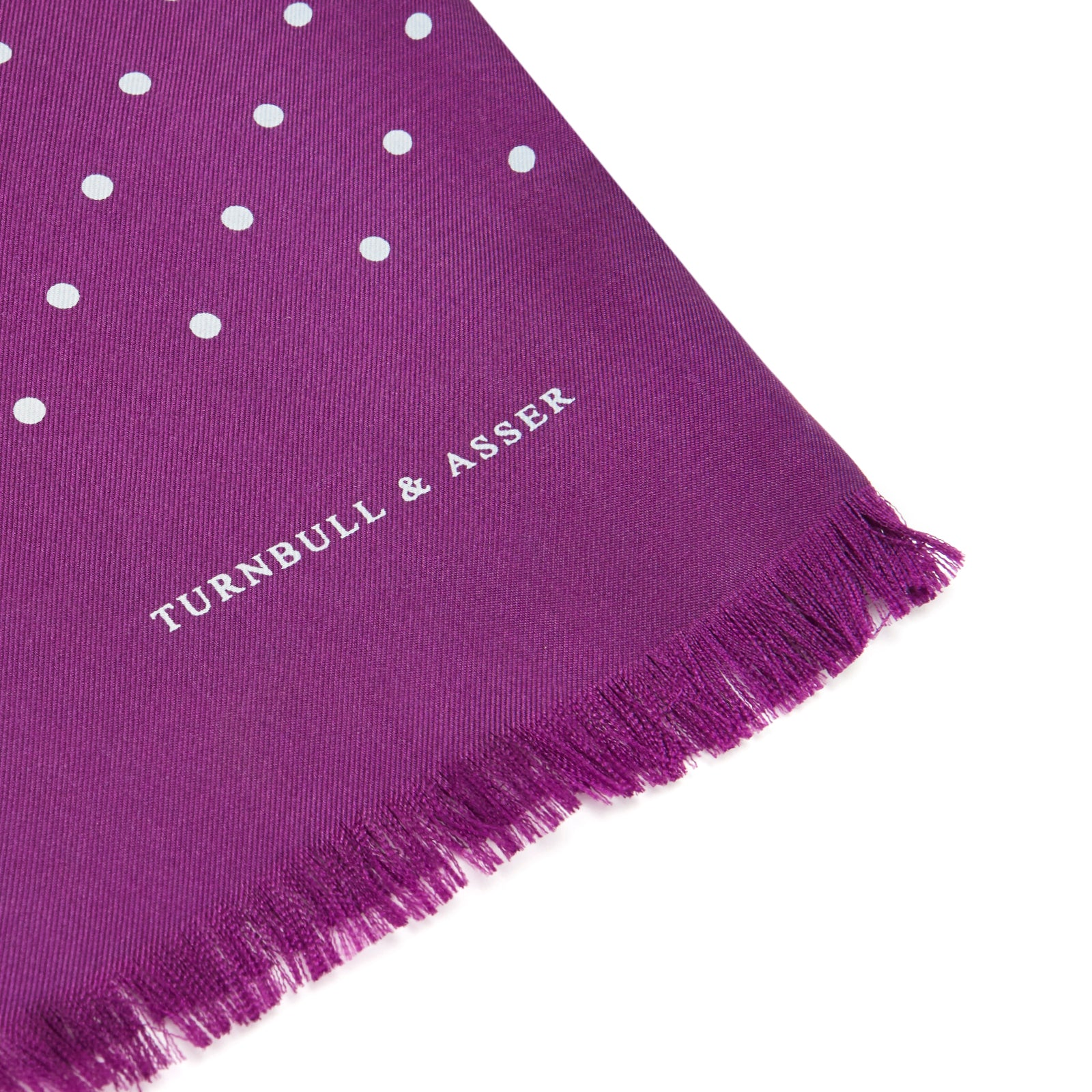 Purple and White Spot Silk Scarf