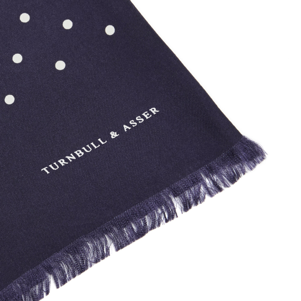 Navy and White Spotted Silk Scarf