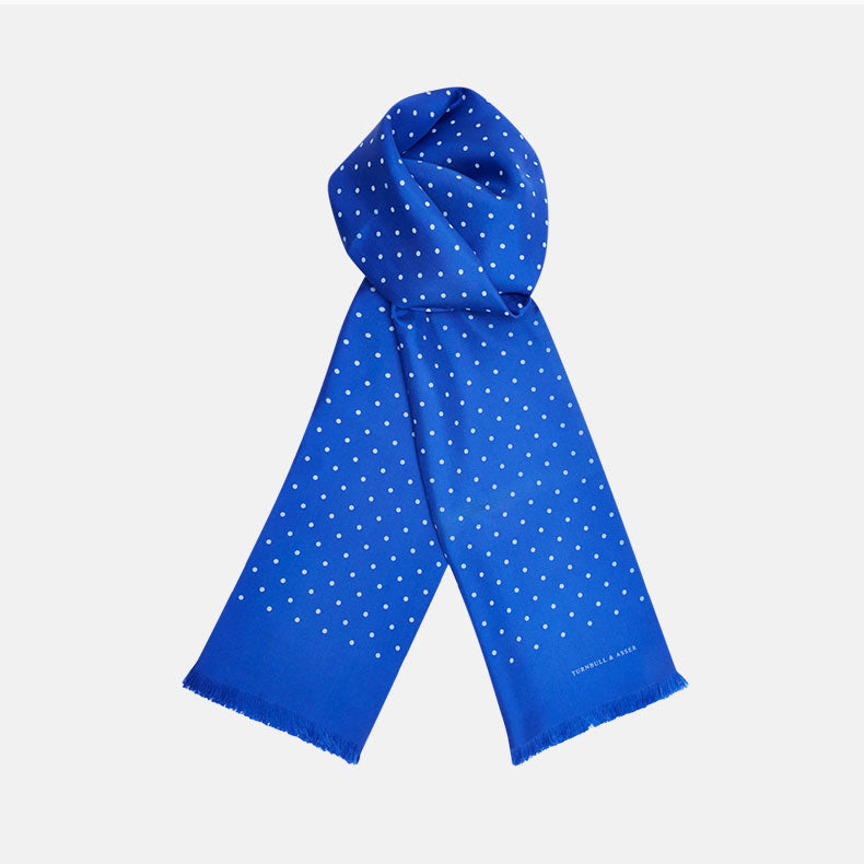 Royal Blue and White Spotted Silk Scarf