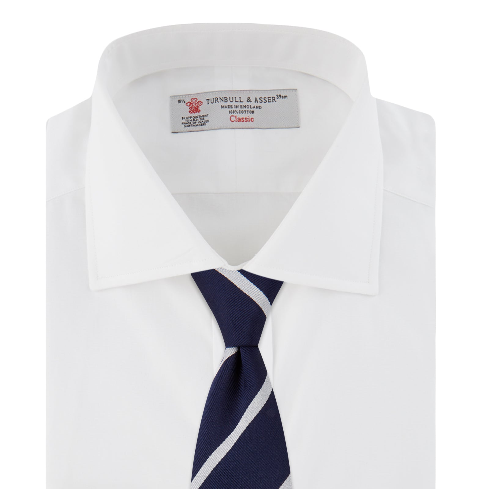 Plain White Cotton Shirt with Dr No Collar and Cocktail Cuff
