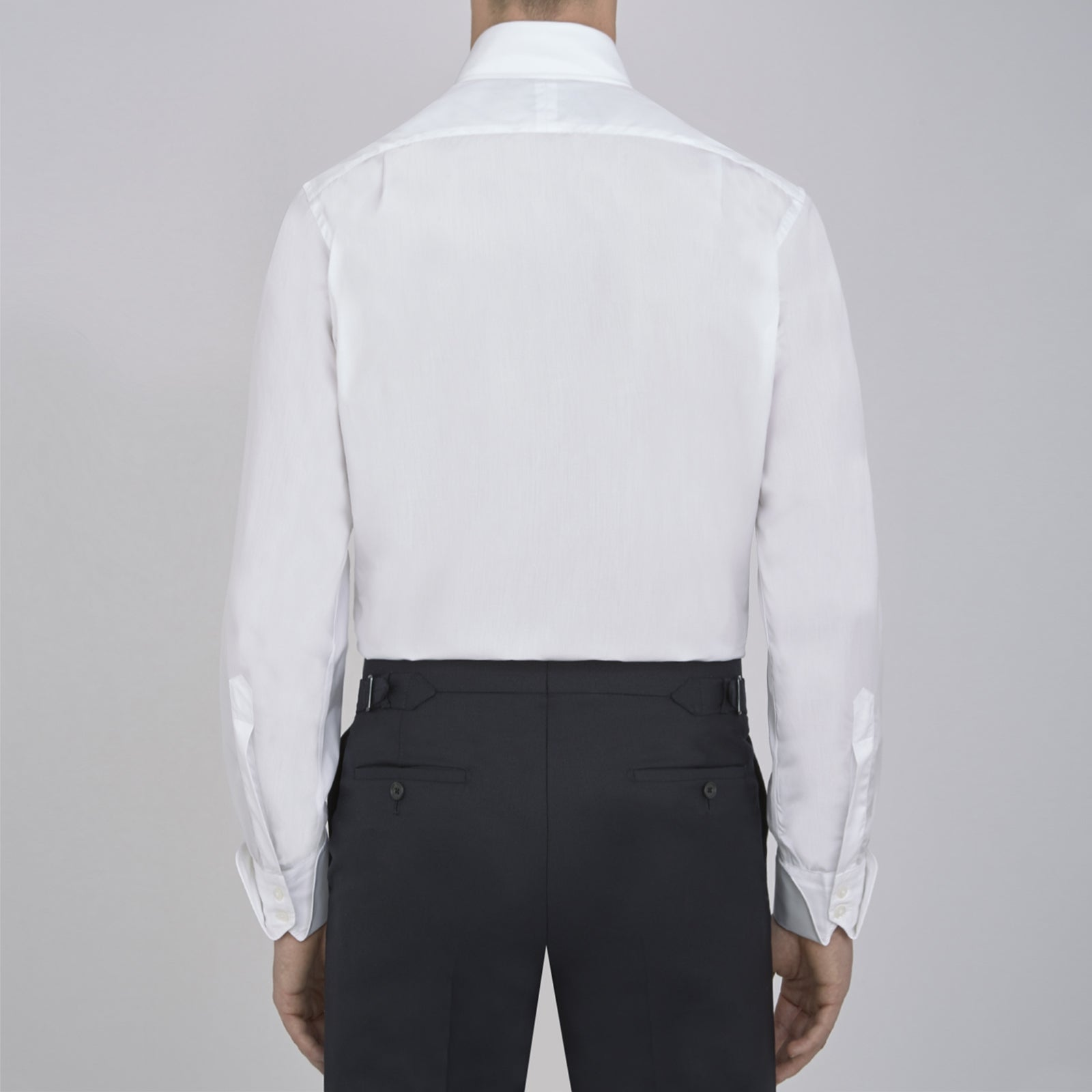 White Poplin Shirt With Regent Collar and 2-Button Cocktail Cuffs