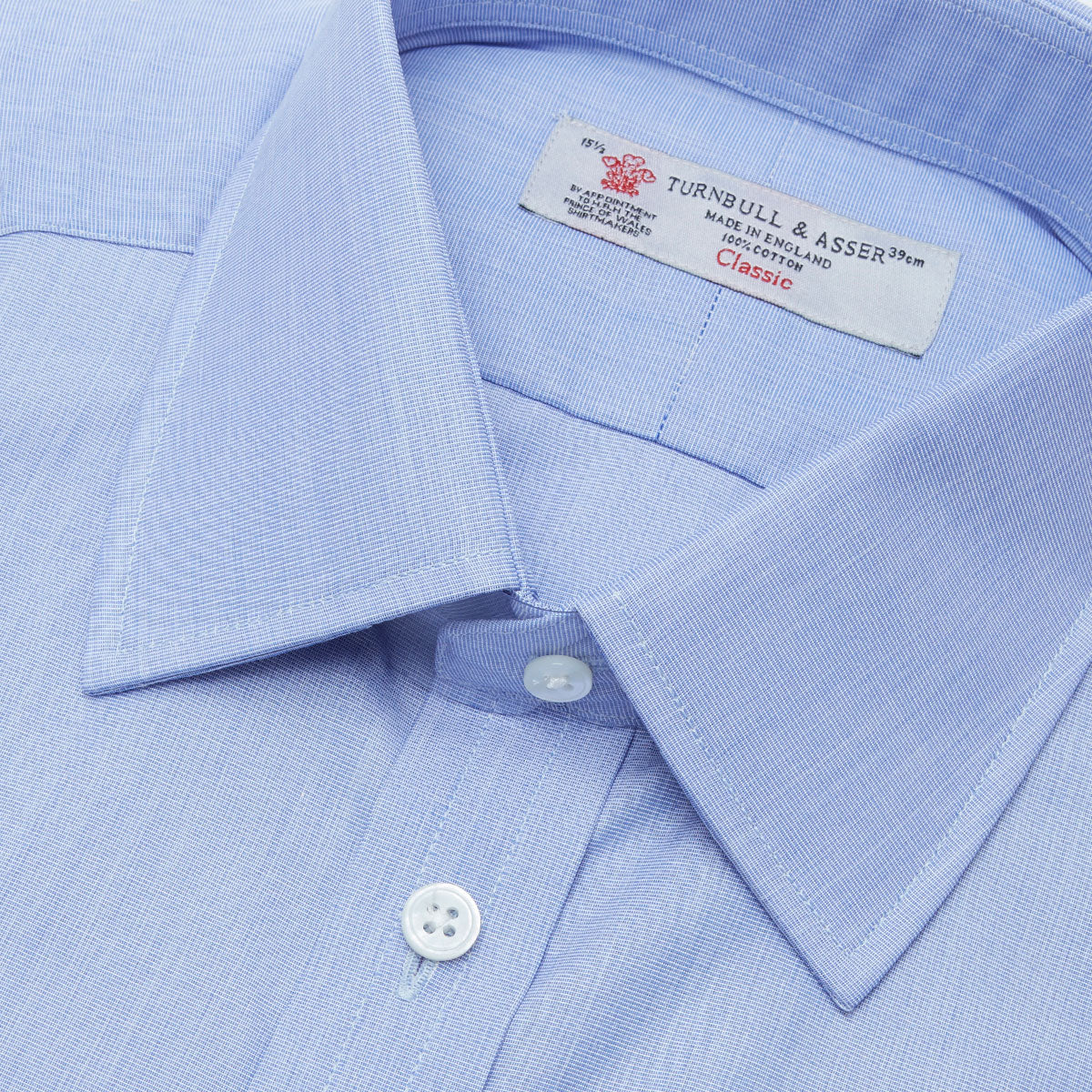 Blue End-on-End Cotton Shirt with T&A Collar and Double Cuffs