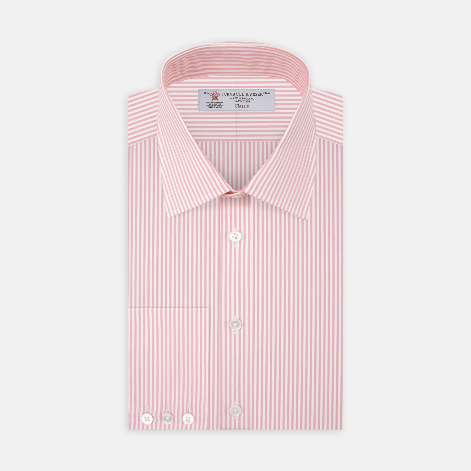 Pink Bengal Stripe Shirt with T&A Collar and 3-Button Cuffs