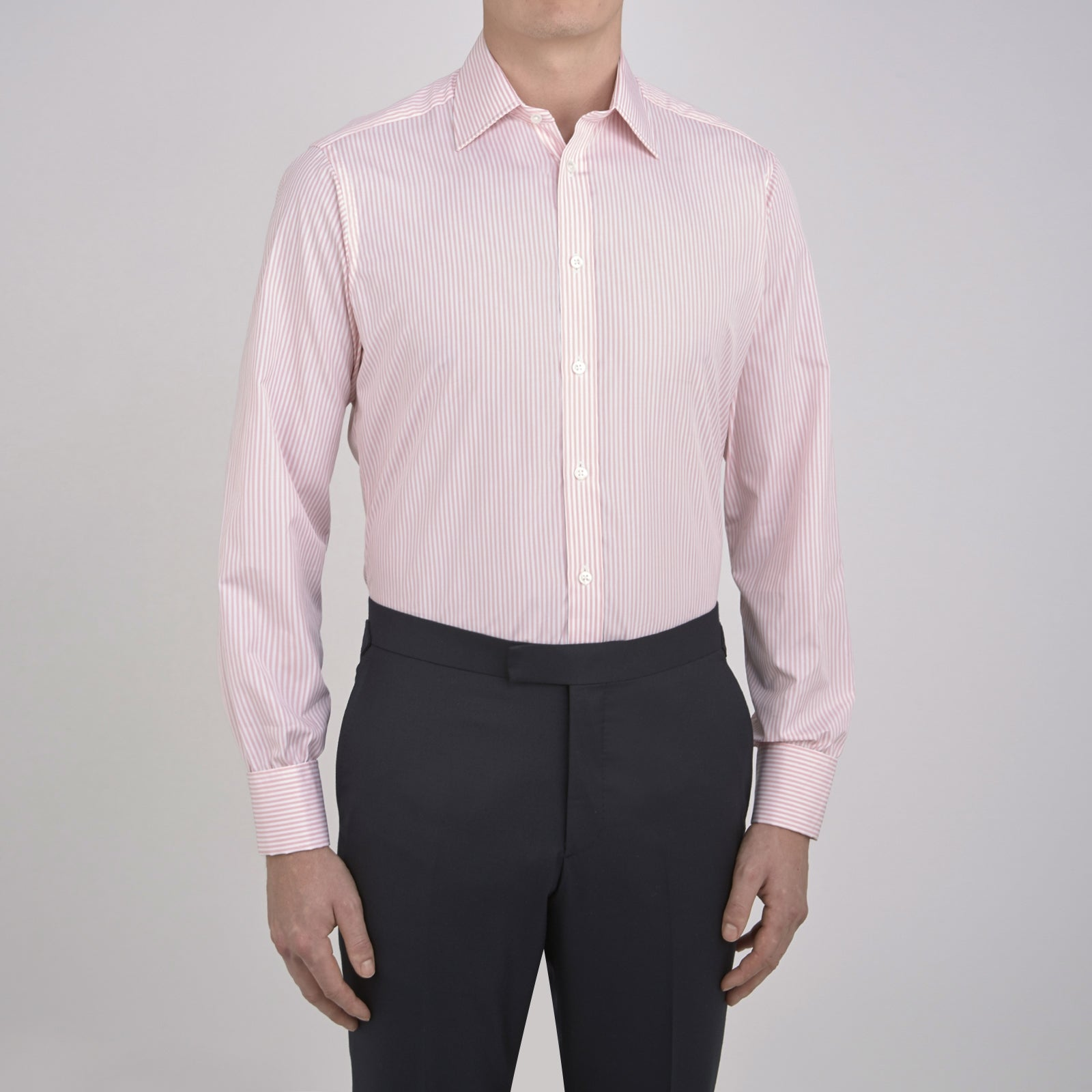 Pink Bengal Stripe Shirt with T&A Collar and Double Cuffs
