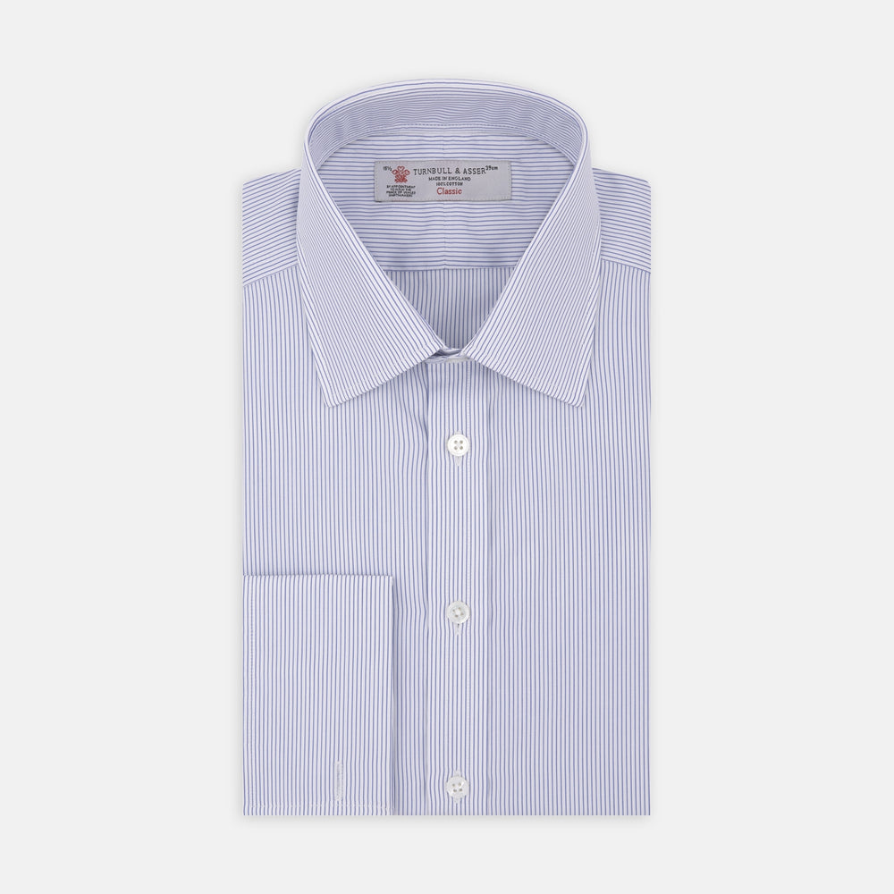 Blue and White Fine Stripe Cotton Shirt with T&A Collar and Double Cuff