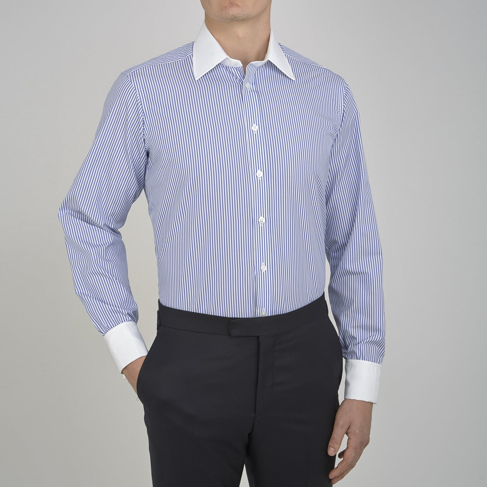 The Gekko Shirt with White Classic T&A Collar and Double Cuffs