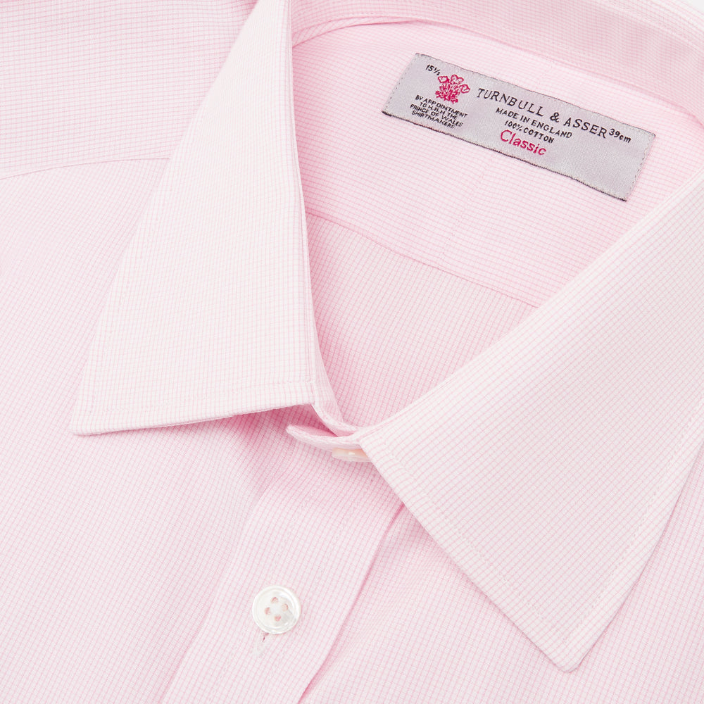Pink Fine Check Shirt with T&A Collar and 3-Button Cuffs