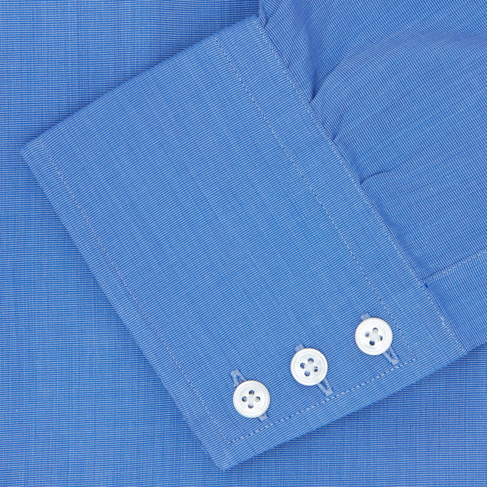 Dark Blue End-On-End Shirt with T&A Collar and 3-Button Cuffs